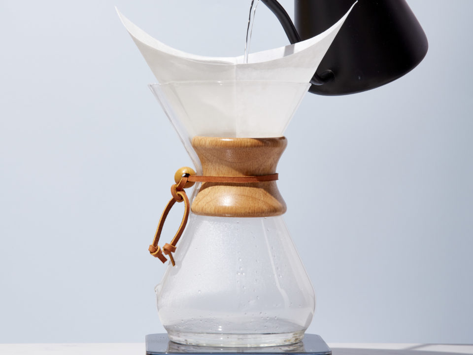 pouring water into a chemex