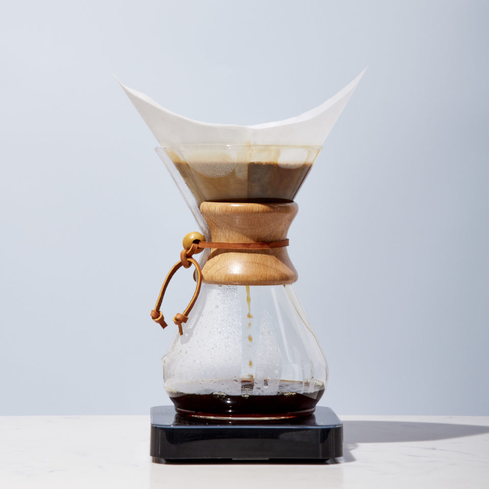 Chemex sits atop a scale