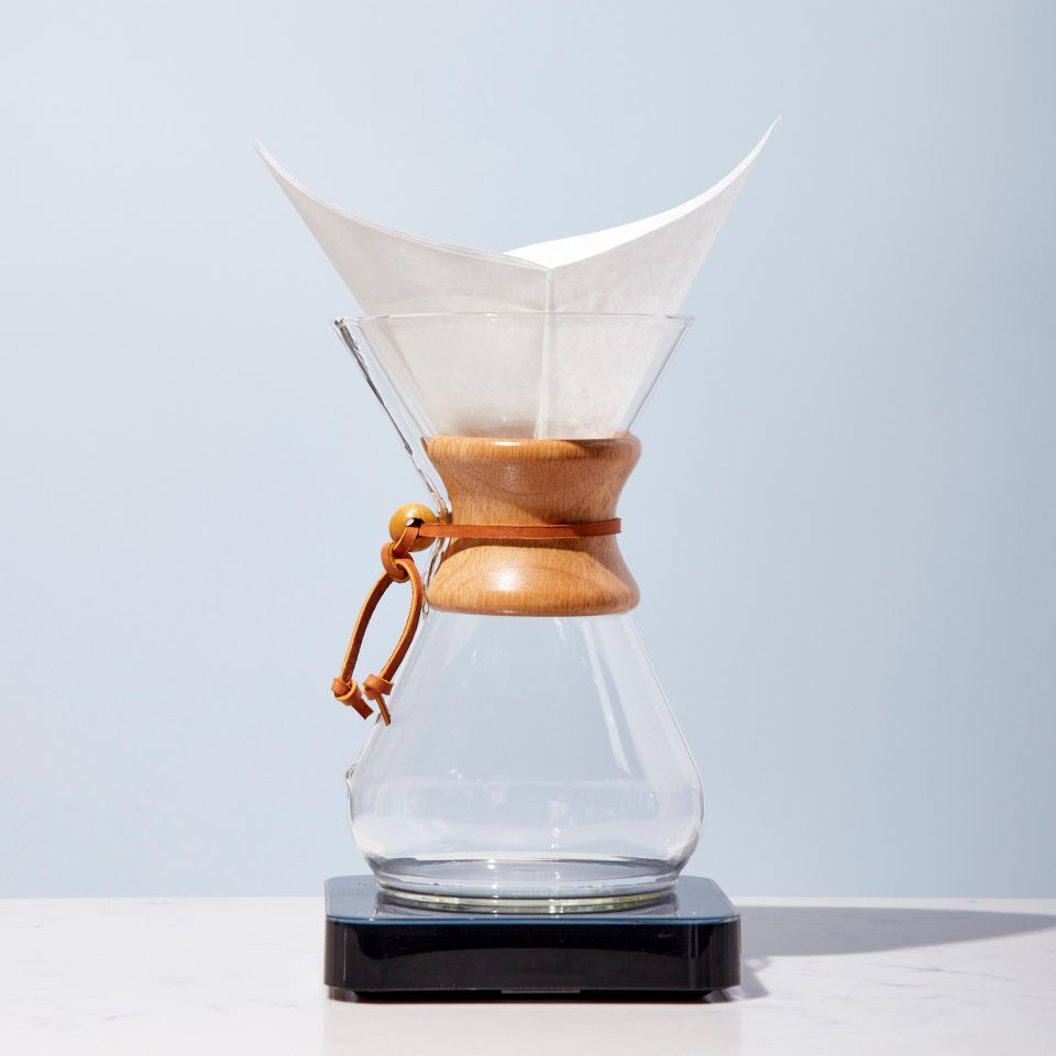 Chemex with filter sits atop a scale