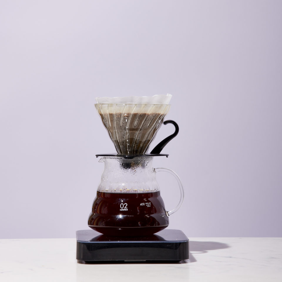 V60 sits atop a scale