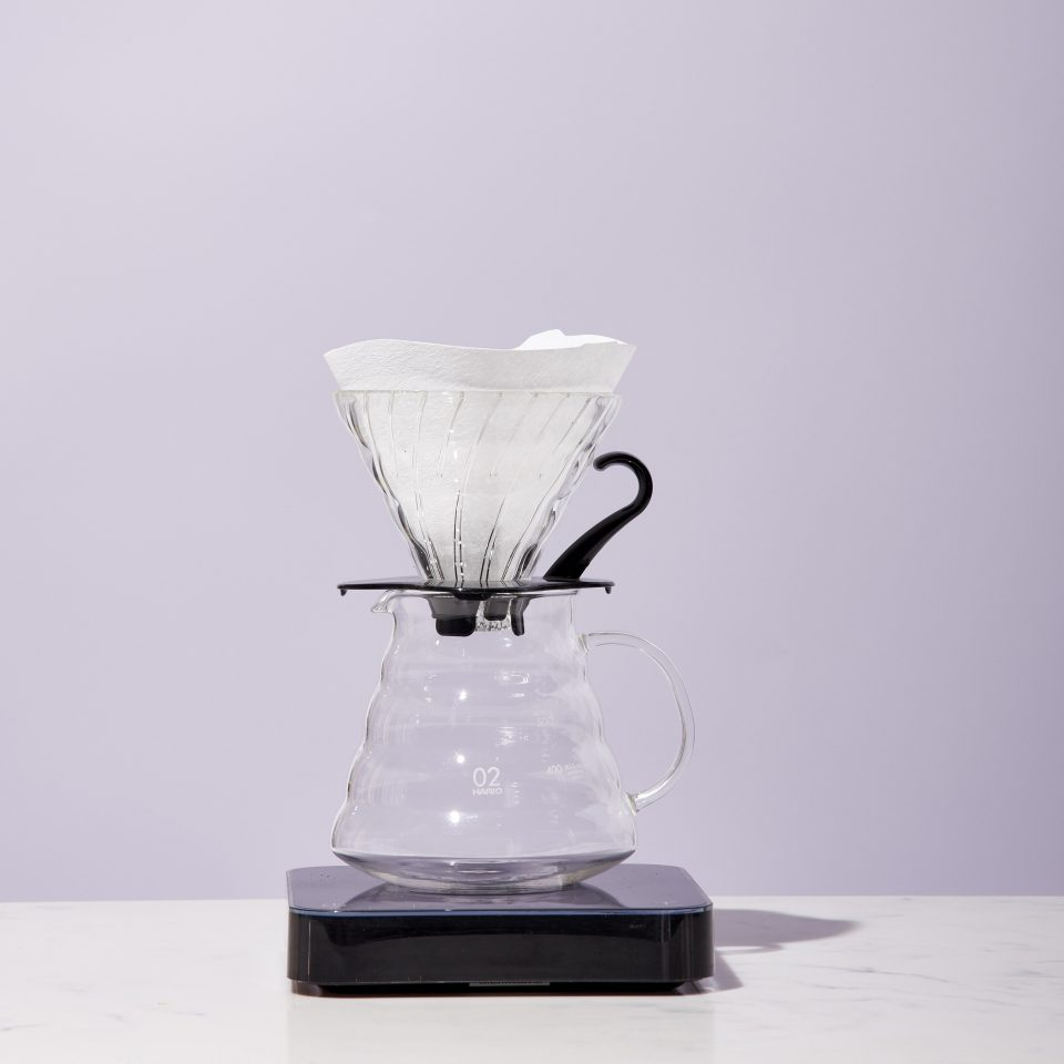 V60 with filter set up on a range server and scale