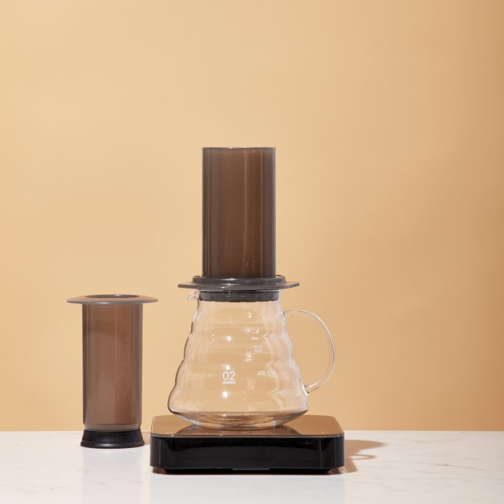 Aeropress sits atop a Hario range server and scale