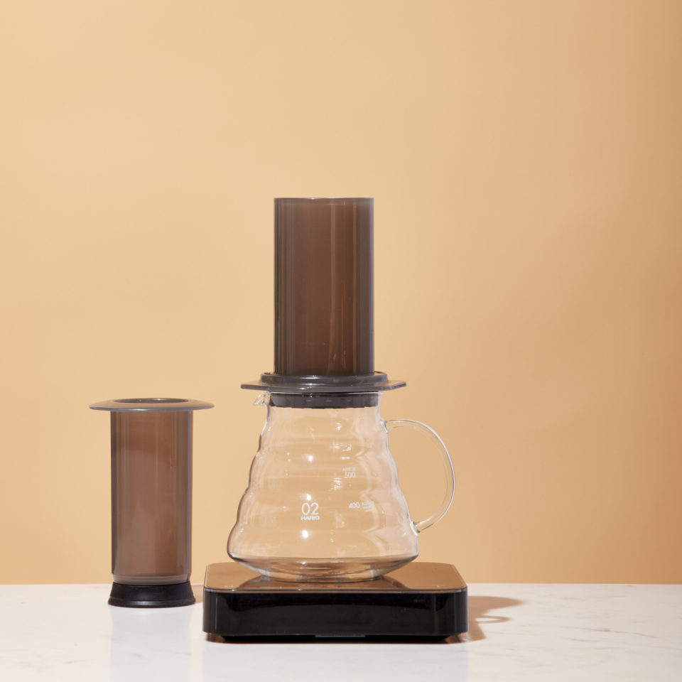 Aeropress on a scale