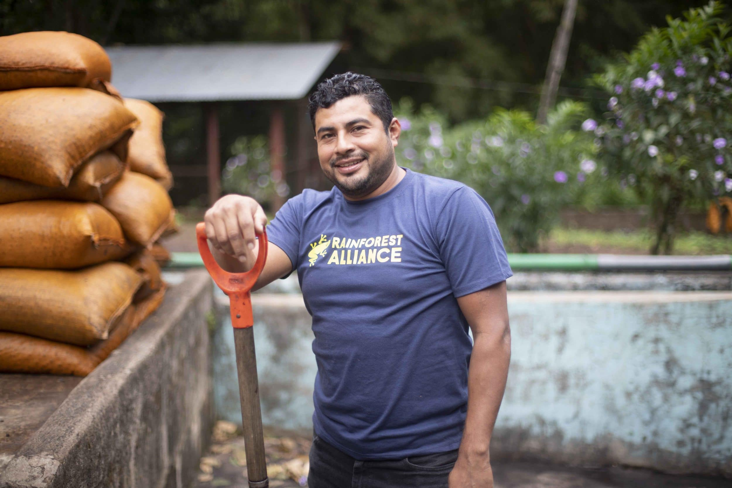Our agricultural technician, Erick Lopez, at Los Placeres RFA Cert
