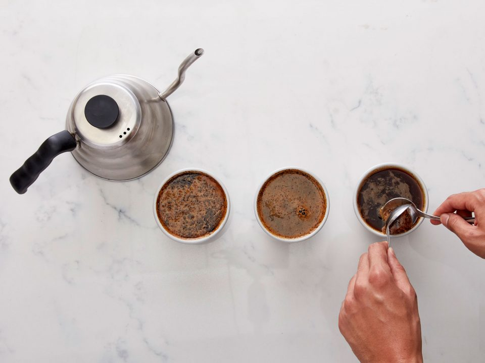 A coffee cupping for quality control
