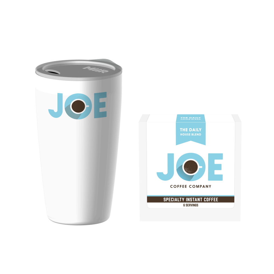 Joe Coffee MiiR Travel Tumbler with a box of Instant Coffee