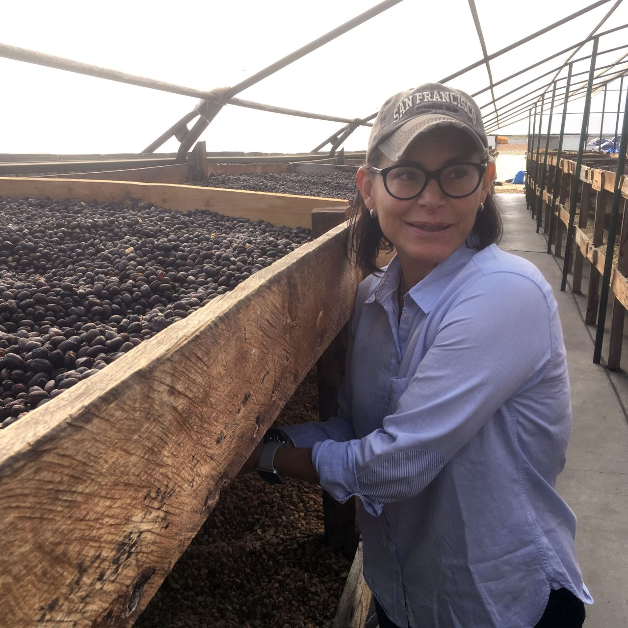 Eleane Mierisch tends to the drying beds