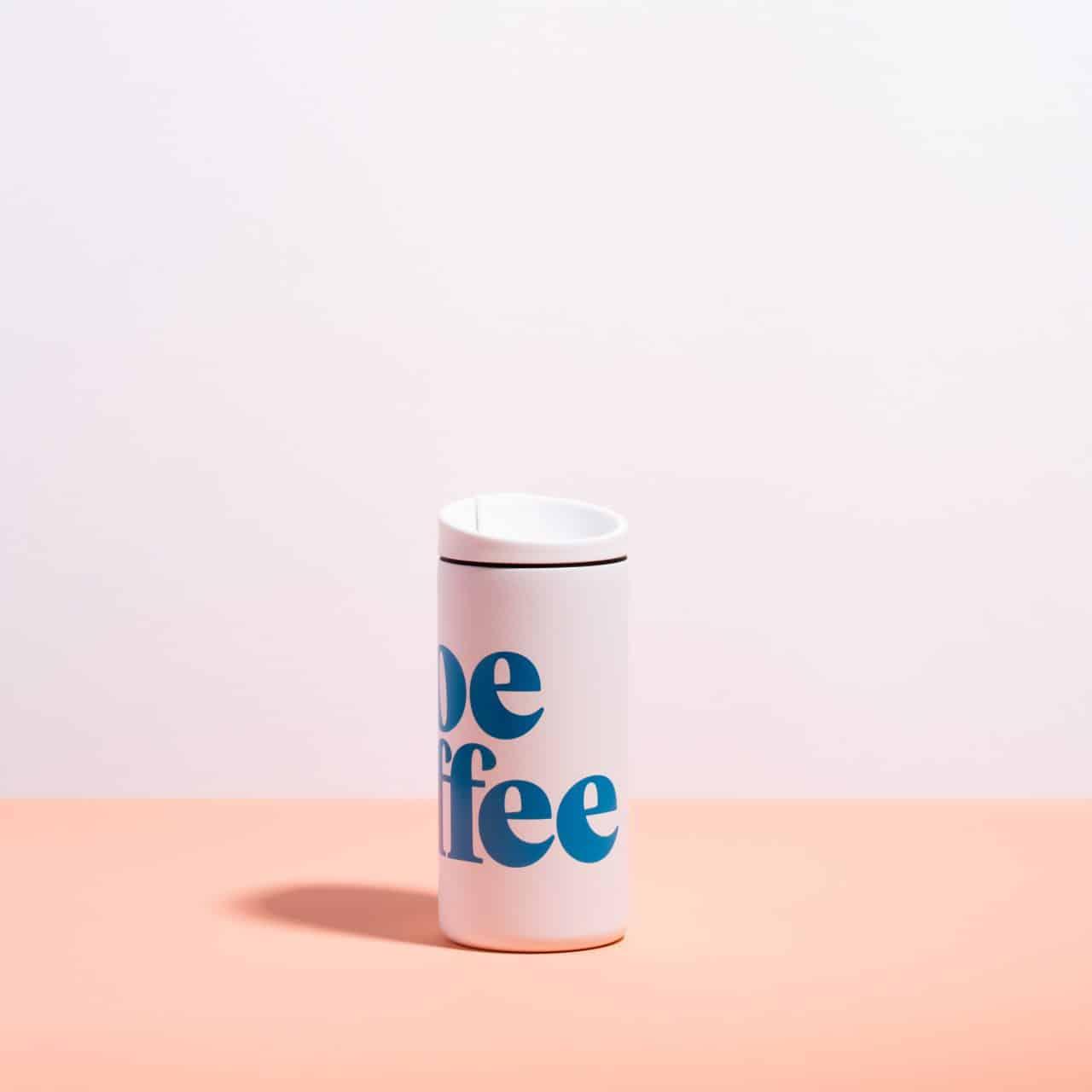 white mug, blue logo