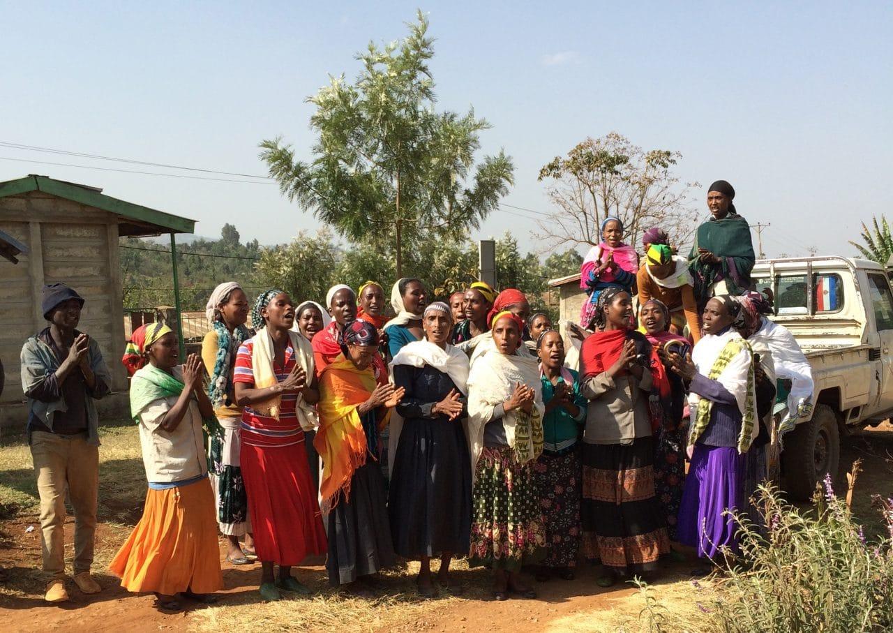 Ethiopian women descending from truck