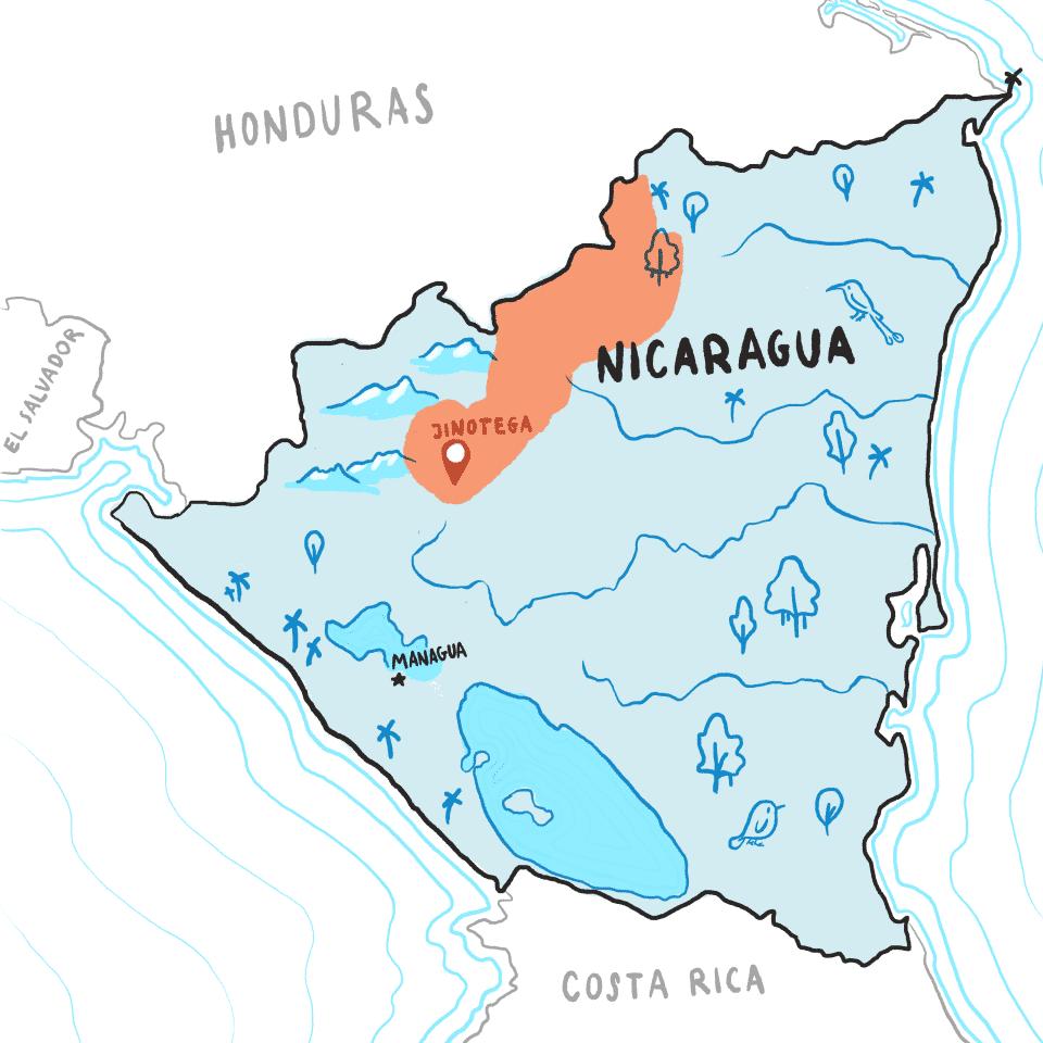 Map of Jinotega region of Nicaragua